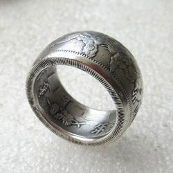 Moeda chinesa xuantong 3 anos reprodução banhado a prata anel artesanal eua tamanho 8-16