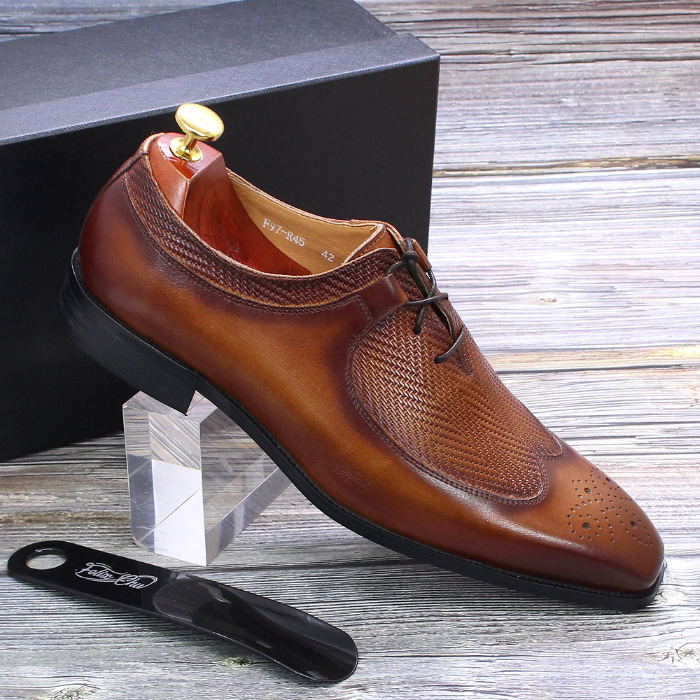 Classic Wing Tip Mens Oxford Brogue Genuine Leather Black Brown Dress Shoes Handmade Business Wedding Formal Suit Shoes for Men