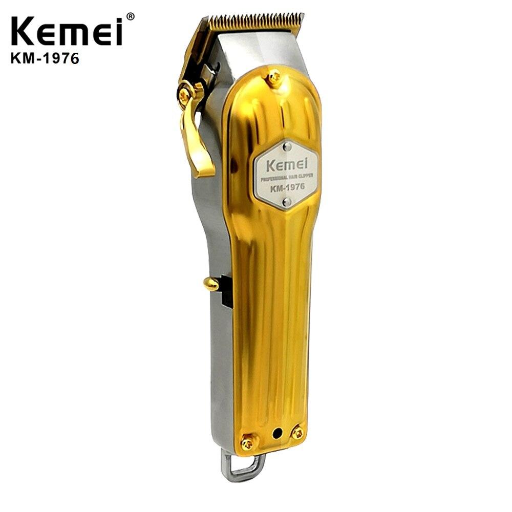 Cortadora de pelo eléctrica Kemei profesional de Metal, cortadora de pelo para hombre, máquina de corte de pelo, barbería, KM-1977, KM-1976