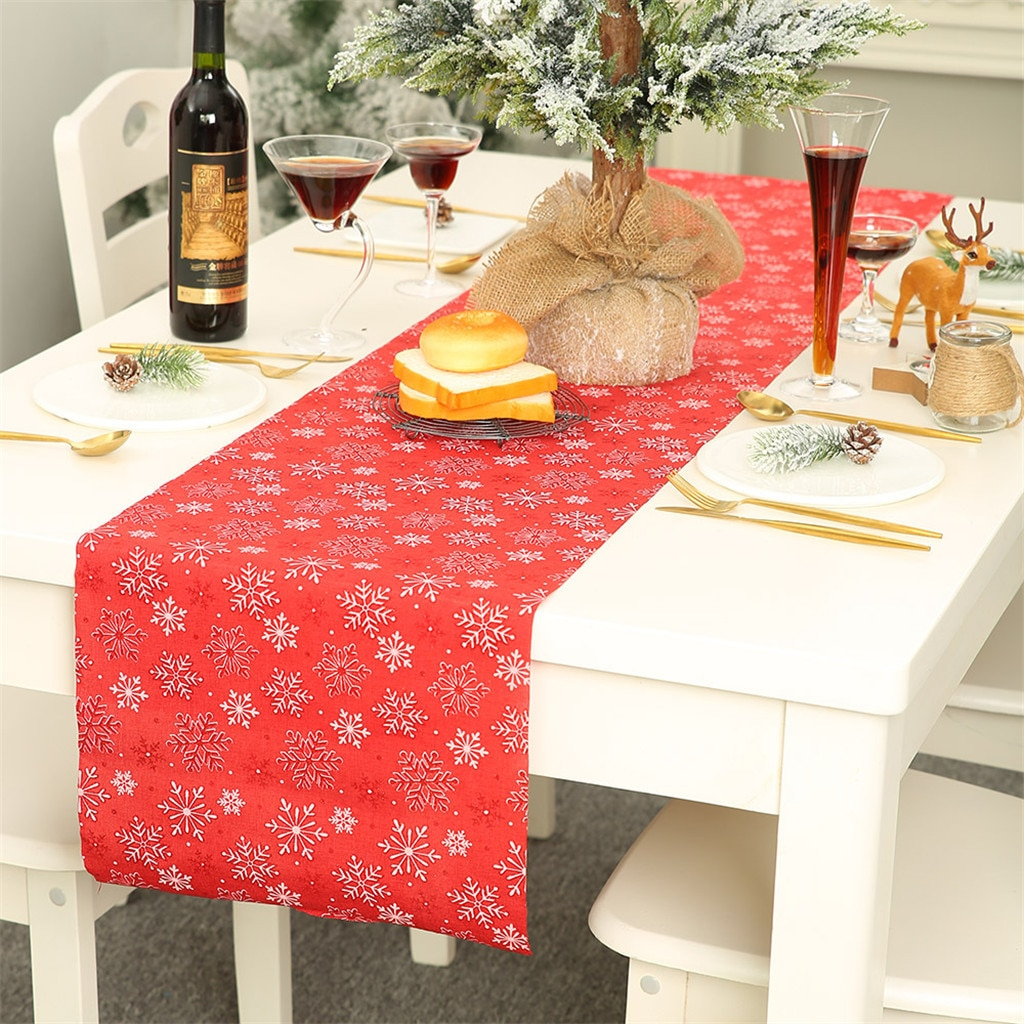 Christmas Snowflake Table Runner Xmas Flower Printed Tablecloth Linen Placemat Bieznik Na Stol Restaurant Christmas Table Runner