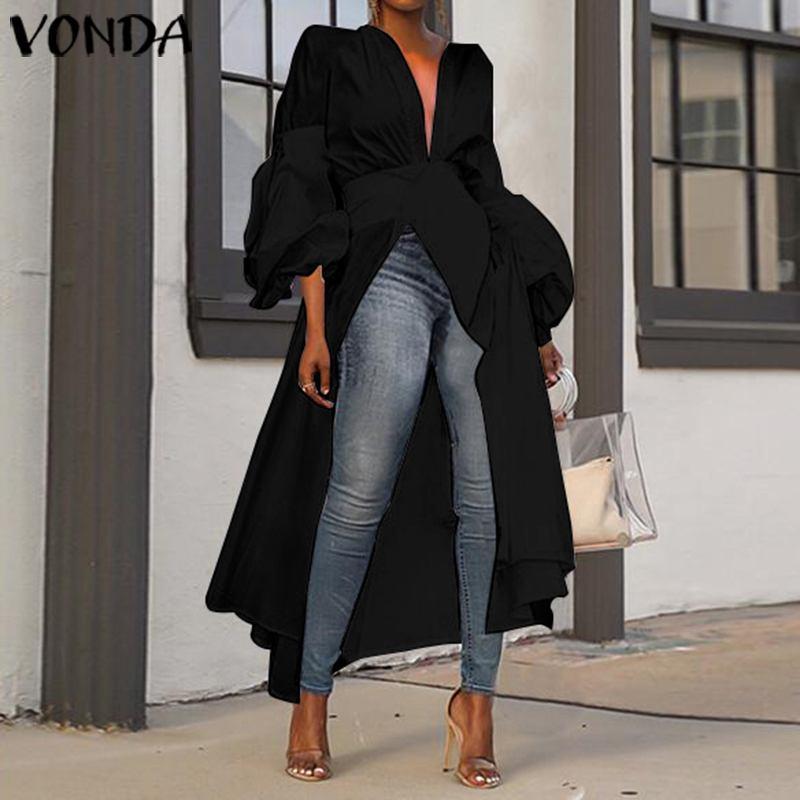 VONDA, Blusa larga para mujer, Blusa asimétrica de otoño 2019, camisas de manga larga de fiesta, informal, de talla grande, Blusa femenina