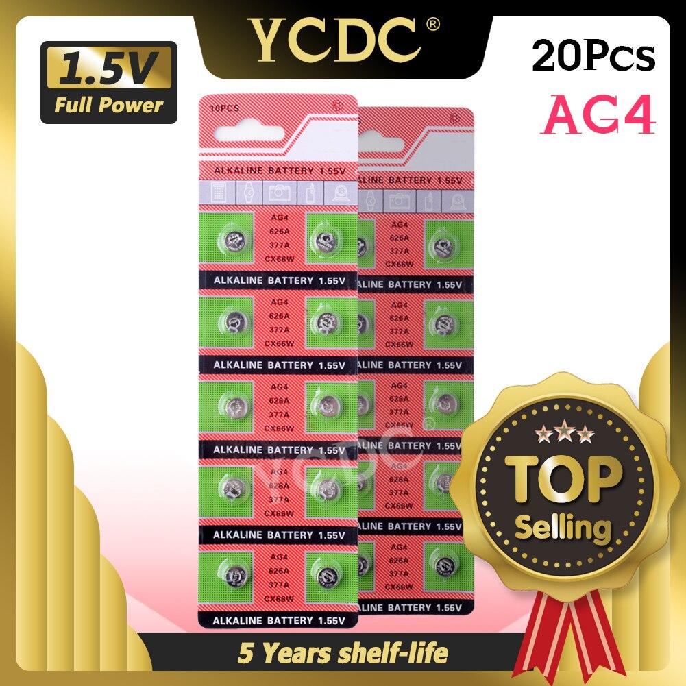 20 piezas Ag4 alcalina pila de moneda AG4 batería 177, 376, 377, 565 377A D377 G4 GA4 LR626 LR66 SR626 SR626SW para relojes calculadoras Juguetes