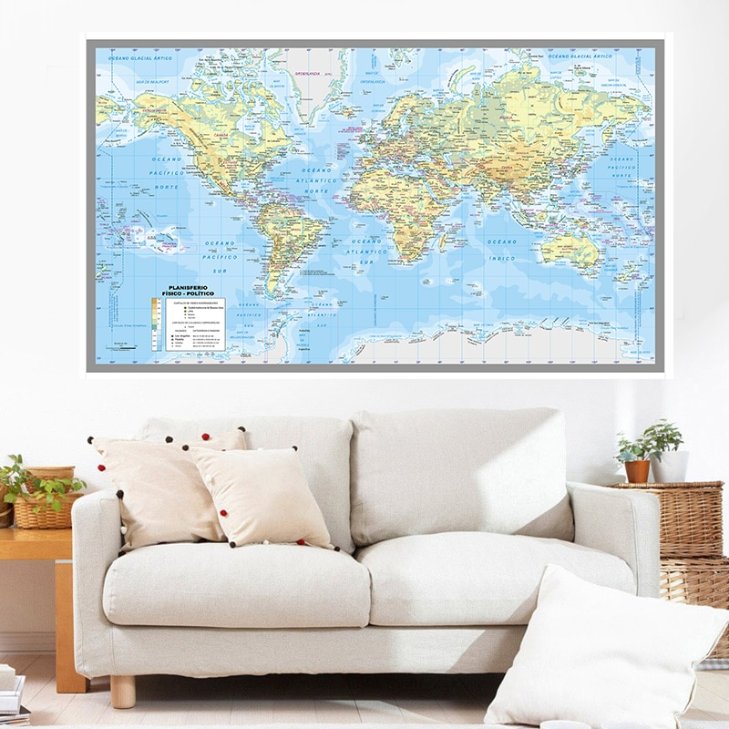 150*100cm Spanish The World Political Cities Map  Poster Non-woven Canvas Painting Wall Card School Supplies Home Decoration