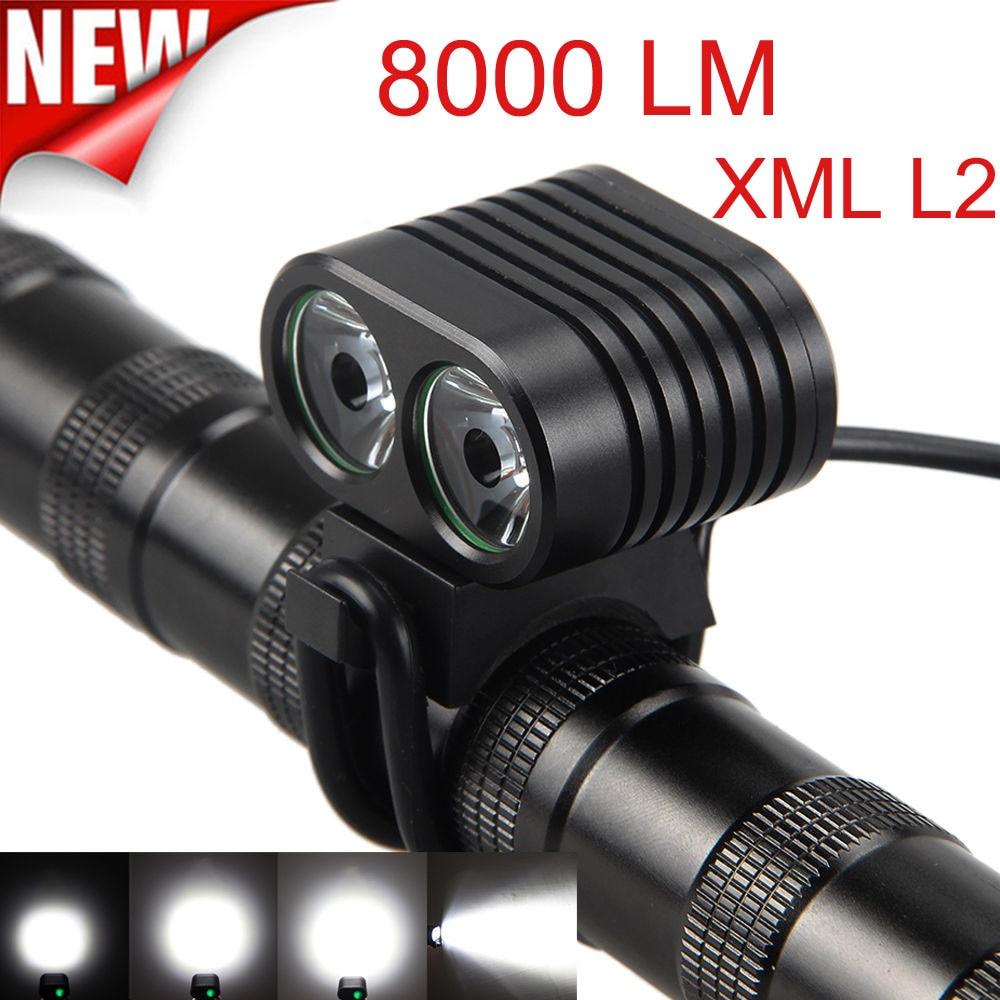 8000 Lumen 2x Xm-l2 Led Bicicleta delantera Bicicleta luz faro Luces Para...