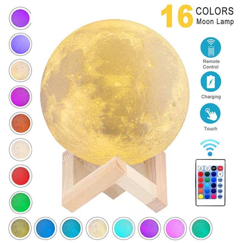 3D Print Moon Lamp Rechargeable 16 Colors LED Night Light 3D Light Touch Moon Lamp Children's Lights