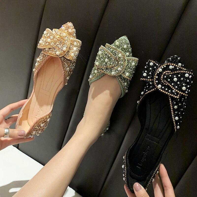 Bling-chaussures plates pour femmes, chaussures de fête de luxe, mocassins de maternité à bout pointu, collection décontracté