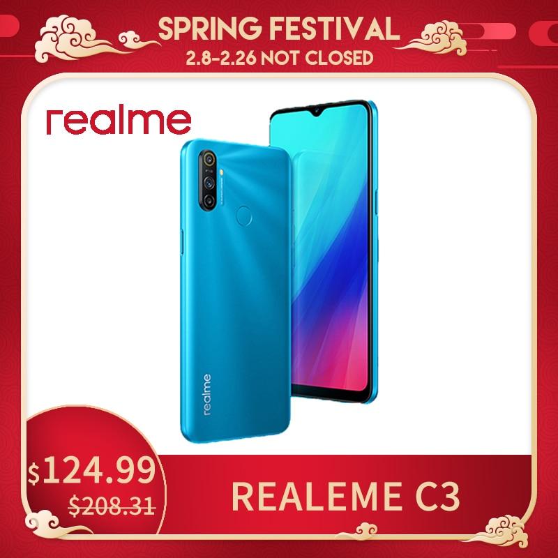 Перейти на Алиэкспресс и купить Realme C3 глобальная Версия Мобильный телефон 5000 мА/ч, Батарея, 3 Гб оперативной памяти, Оперативная память 32GB/64GB Встроенная память Helio Камера HD м...