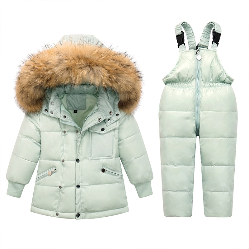 Детский зимний комбинезон с мехом для мальчиков и девочек, водонепроницаемый комбинезон, 2021