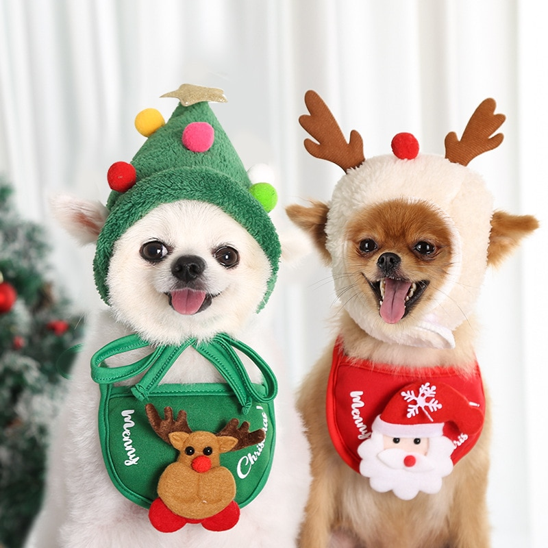 Dog Christmas Bandana Santa Hat Dog Scarf Triangle Bibs Kerchief Christmas Costume Outfit For Small Medium Large Dogs Cats Pets