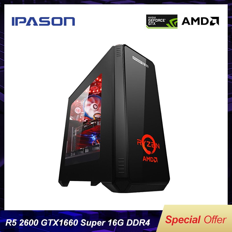 IPASON Gaming Computer R5 2600/New Gen GTX1660SUPER Compared with 1660TI High Performance Vedio Card