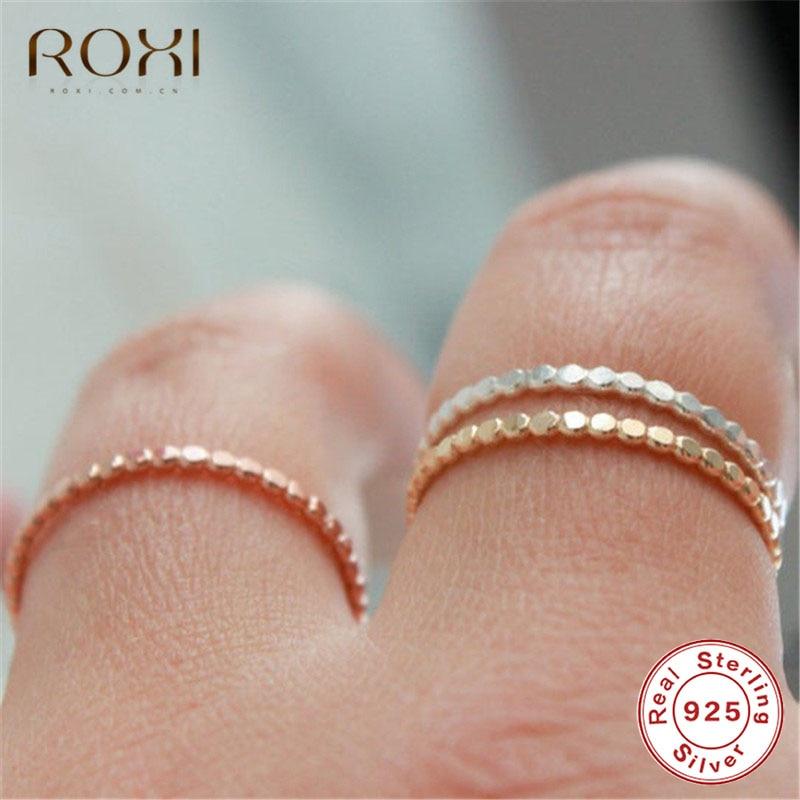 ROXI 925 anillos de plata esterlina para mujeres de anillos de cuentas de la boda banda media eternidad banda apilable anillo regalo para niñas, joyería