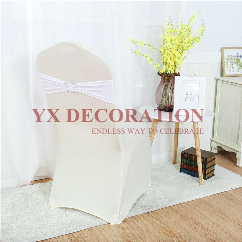 حزام ليكرا ليكرا للكرسي ، حزام بإبزيم فراشة ، لتزيين كرسي الزفاف والمناسبات