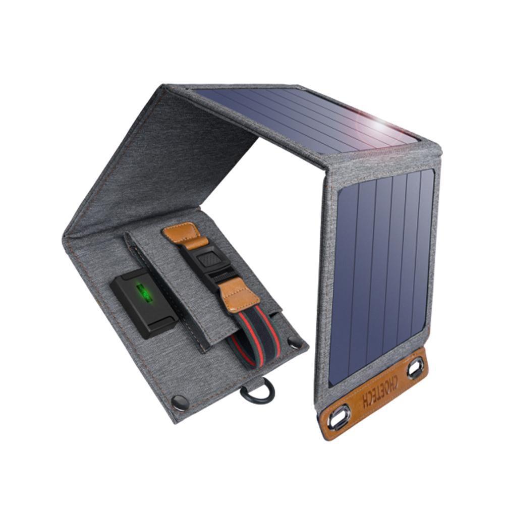 CHOETECH 5V 2.4A Panel Solar 22W para iPhone 11 X XS X USB resistente al agua Solar cargador de teléfono para xiaomi cargador de dispositivos de salida