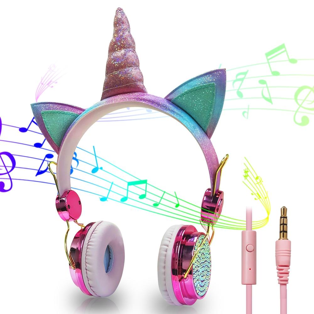 Auriculares para niños con micrófono estéreo, auriculares con cable de música, bonitos auriculares para niñas, niños, Gamer, para Smartphone, PC, tableta MP3