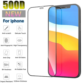 500D Screen Protector Full Cover Glass on the For iPhone 12 11 Pro MAX XR X XS Max For iPhone 7 8 Plus SE 2020 Tempered Glass