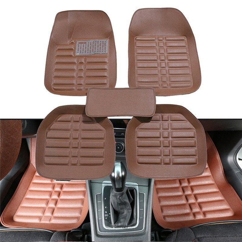 5Pcs Universal Car Auto Floor Mats FloorLiner Front&Rear Carpet All Weather Mat Brown