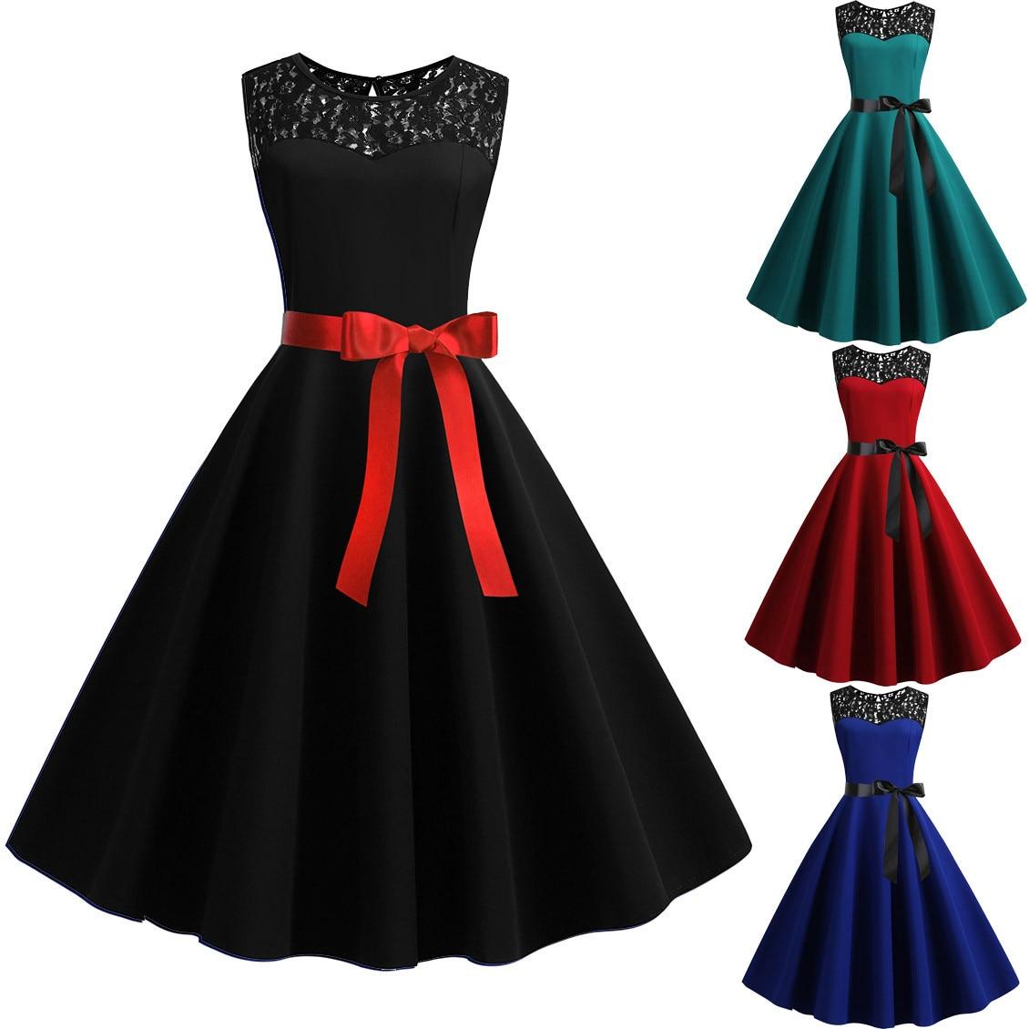 Brand New Women Vintage 1950s Retro Sleeveless Lace Splice Solid Party Prom Swing Dress Women's Clot