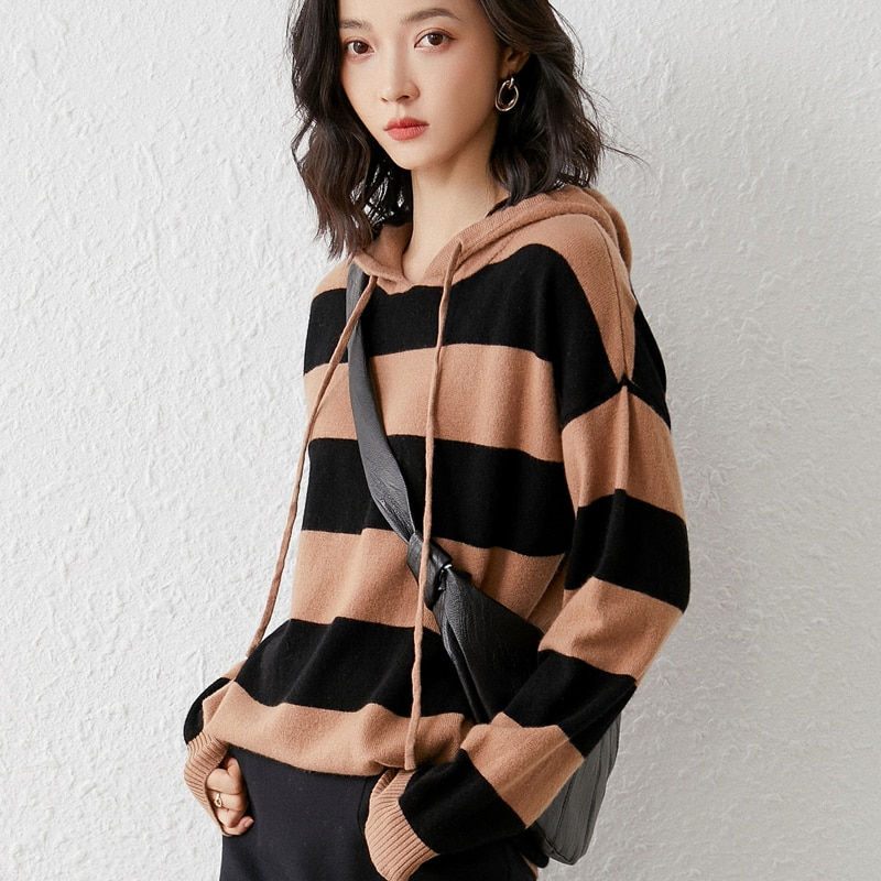 2021 woman winter 100% Cashmere sweaters knitted Pullovers jumper Warm Female Hooded blouse blue long sleeve striped enlarge