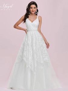 MNGRL Simple Retro V-neck Sleeveless Wedding Gown White Lace 3D Flower Bridal Dresses Fluffy Skirt Wedding Dress