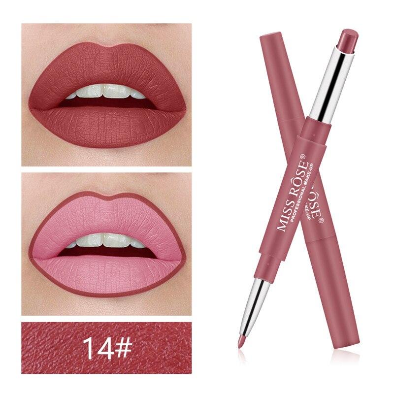 10 Color doble placa de extremo maquillaje lápiz labial lápiz impermeable de larga duración tinte rojo Sexy labio Stick belleza mate 2 en 1 pluma lápiz labial