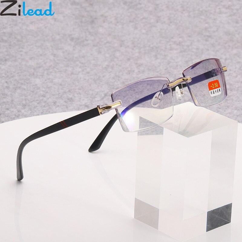 Zilead sin marco Anti-Luz Azul gafas graduadas para miopía negocios miope gafas miope Eyewear0-1.0-1.5-4.0Unisex