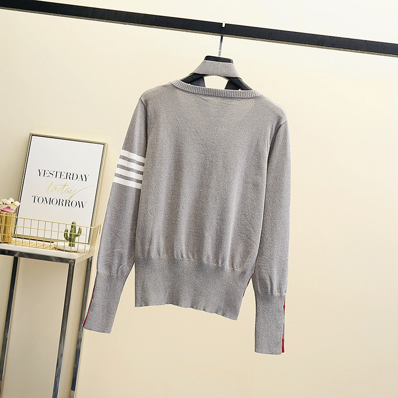 High quality women fashion 2021 v-neck sweater women top woman long sleeve warm sweaters Embroidered Knitted pullover tops enlarge