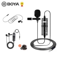 boya by m1dm m1 lm10 audio video record lavalier microphone clip on mic for smartphone dslr camera podcast camcorder recorder