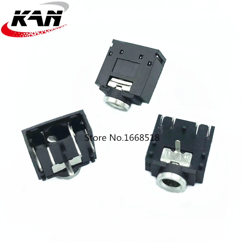 Envío Gratis 100 piezas PJ-307 PJ307 rosa/Verde/Negro Jack estéreo de 3,5mm hembra de conector Jack de Audio PCB 3F07 -5PIN