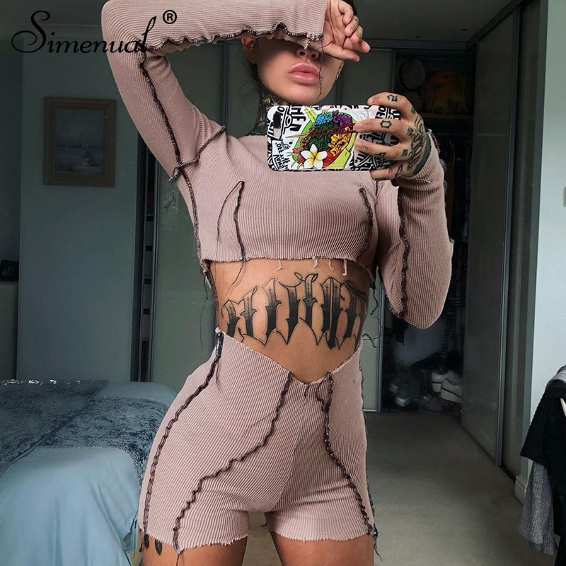 Simenual Ribbed Knit Crop Top And Shorts Two Piece Sets Patchwork Fashion Bodycon Casual Women Long Sleeve Co-ord Set Spring Hot simenual knitted ribbed bandage patchwork two piece sets women long sleeve v neck club tie front outfits crop top and pants set