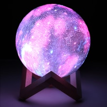 16 Colors 3D Printing Moon Lamp With Remote Control Starry Sky Galaxy Light Built In Rechargeable Ba