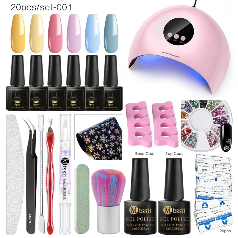 Mtssii Gel Polish Nail Art Manicure Tools Kit Uv Led Nail Lamp Dryer Color Gel Nail Polish Diy Tools