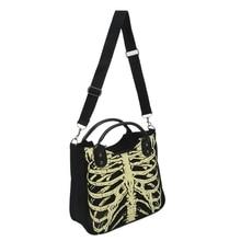 Luminous Gothic Skeleton Bones Skulls Bags Rock Designer Female Casual Totes Women Punk Bags Fashion