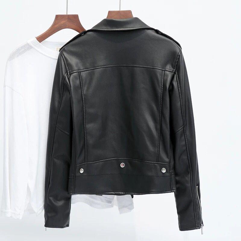 Short pu leather jacket 2020 spring and autumn new plus size Haining motorcycle leather jacket Korean style slim trend enlarge