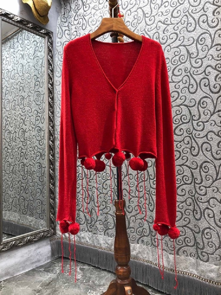 Tassel Sweaters 2021 Autumn Winter Style Women V-Neck Ball Deco Long Sleeve Casual Khaki Red Knitted Cardigans Ladies Tops Coat enlarge