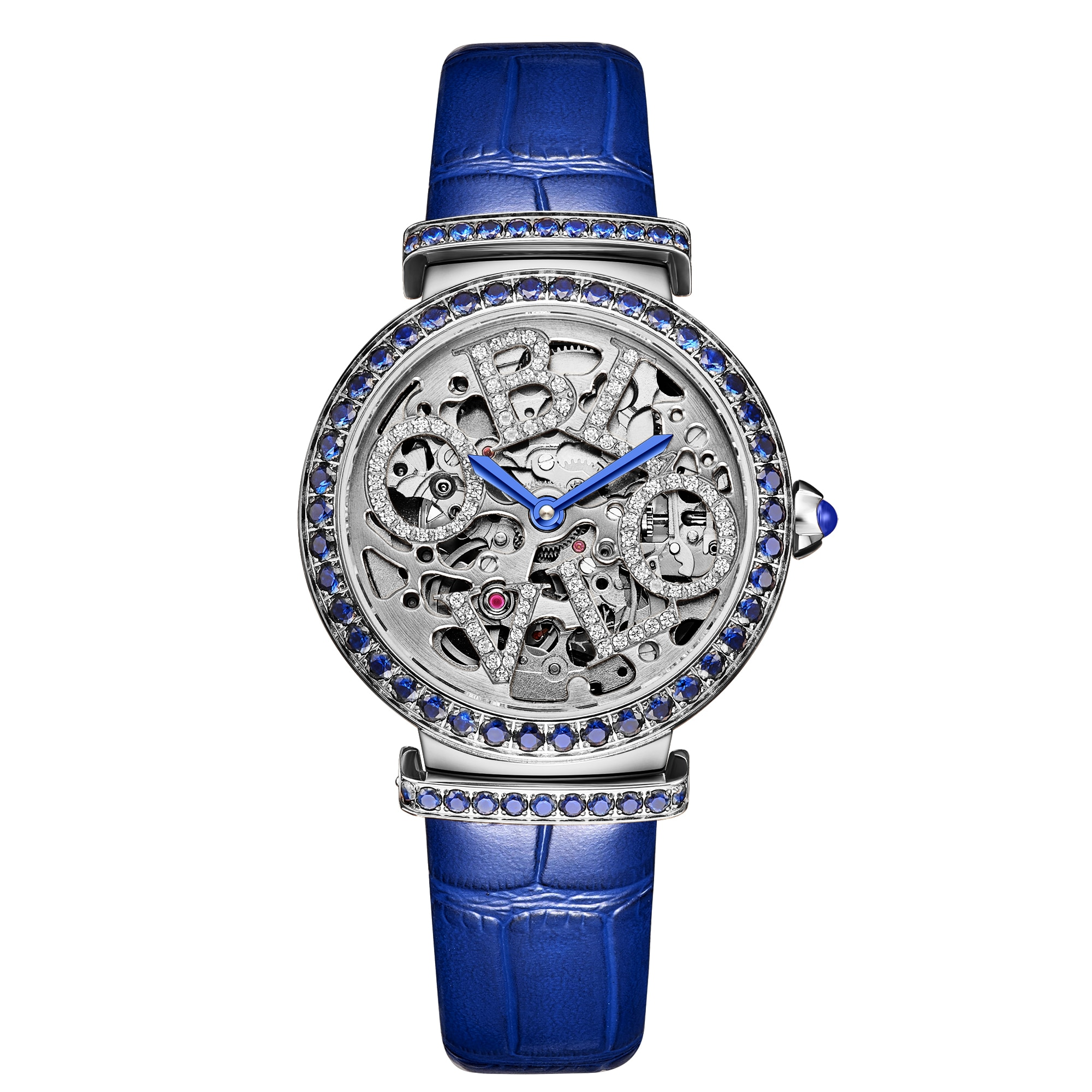 OBLVLO New Design Women Skeleton Automatic Watches Steel Top Brand Luxury Female Wrist Watch Leather Strap enlarge