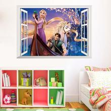 Dinsey Cartoon Rapunzel stickers for kids rooms Children Girl's Bedroom Decor wall decals 3D Window Sticker Poster Mural