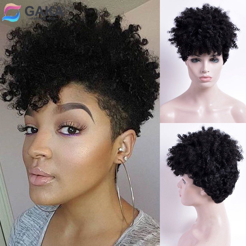 GAKA African American Celebrity Wigs Short-female-haircut Synthetic Front Black Curly Colour Hair Perfumes Feminino