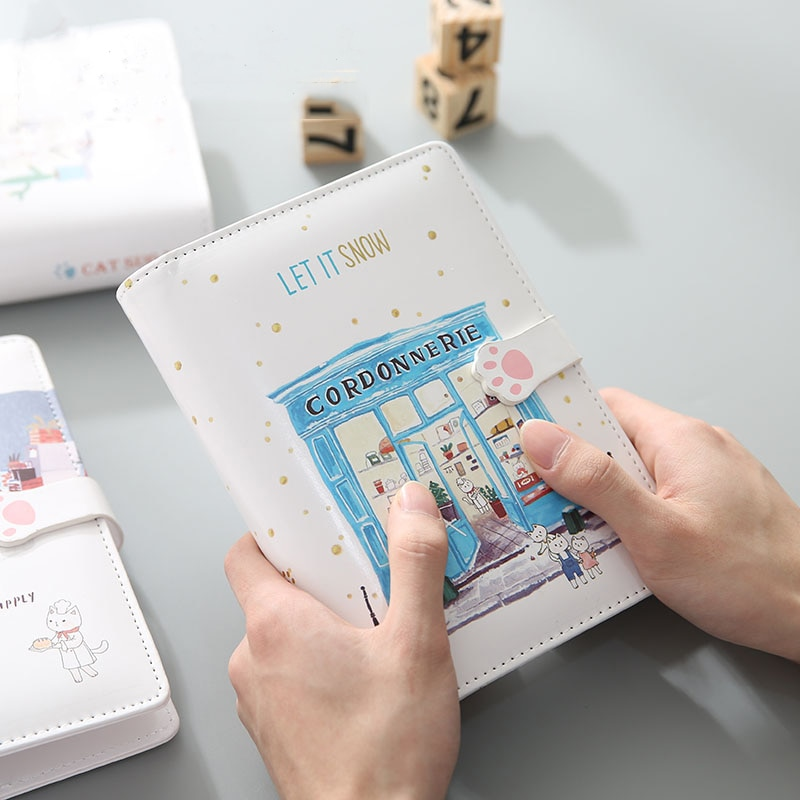 2021 Cat Family Binder Loose Leaf Notebooks and Journals Leather Agenda Personal Diary Planner Office Accessories Students Gifts