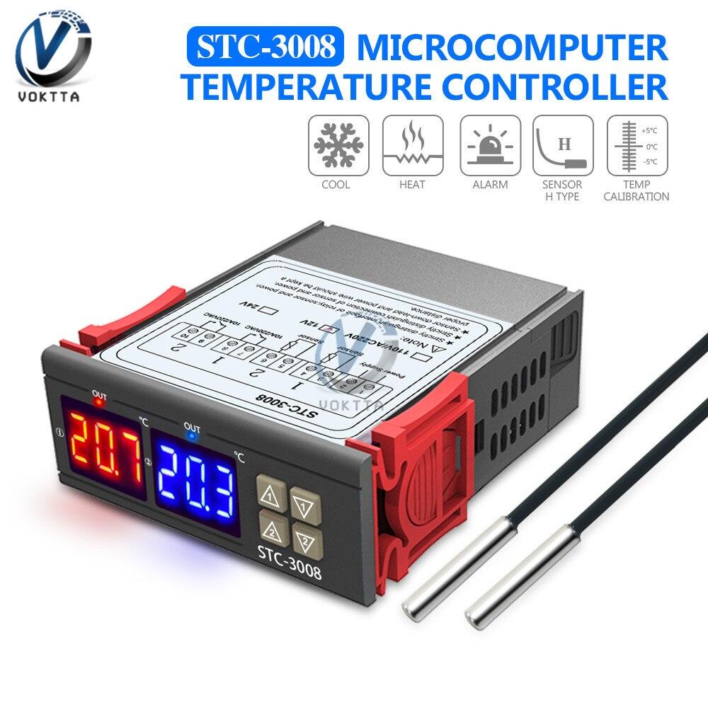 STC-3008 doble Digital controlador de temperatura doble sonda dos realmente salida termostato termoregulador 12V 24V 110-220V Higrometro