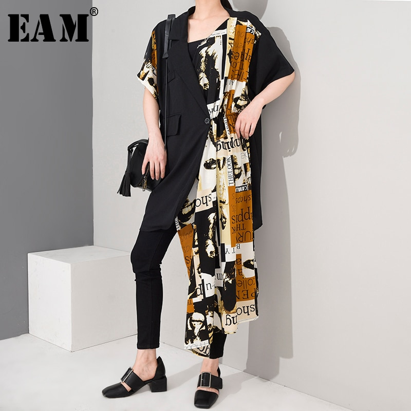 [EAM] Women Black Pattern Printed Irregular Big Size Dress New Lapel Half Sleeve Loose Fit Fashion Tide Spring Summer 2020 1W645