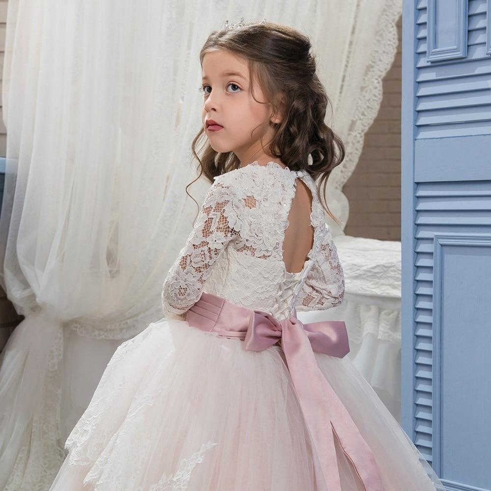 Cross border foreign trade new double lace long sleeve ball flower girl fluffy skirt wedding dress one hair on behalf enlarge
