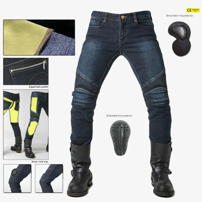 Novo kevlar jeans motocicleta equitação calças de motocicleta resistente ao desgaste anti-queda cinto protetor calças da motocicleta