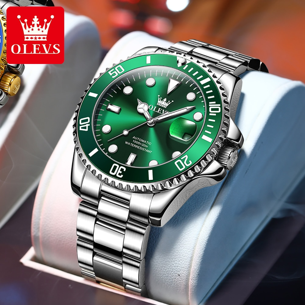 OLEVS Automatic Mechanical Men Watches Luxury Brand Stainless Steel AAA Watch Calendar Casual Busine