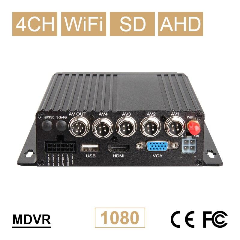 Nuevo 4CH WIFI coche móvil Dvr AHD 1080P tarjeta SD vehículo vídeo Mdvr 24H monitoreo en línea soporte Iphone/Android App Dvr