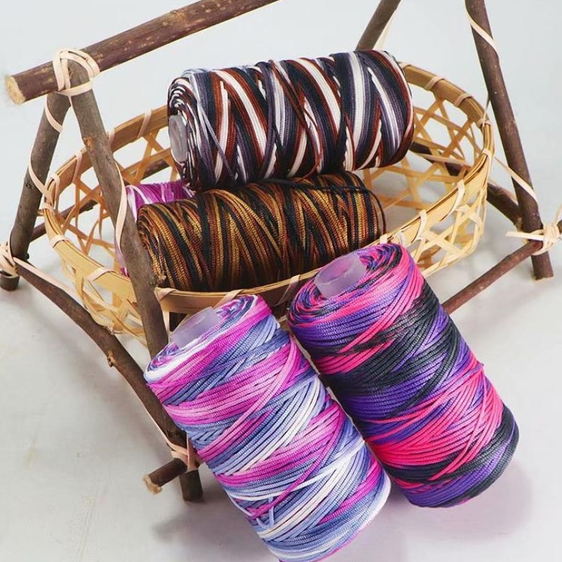 Colour Fine Ice Silk Ice Hemp Bright Silk Hollow Light Body Line Summer Sun Hat Hand Braided Diy Hook Bag Slippers Cushion Wool