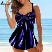 women tankini sets bohemian 3d print two pieces swimwear 2021 mujer summer bikinis swimwsuit sexy femme clothing plus size s 5xl