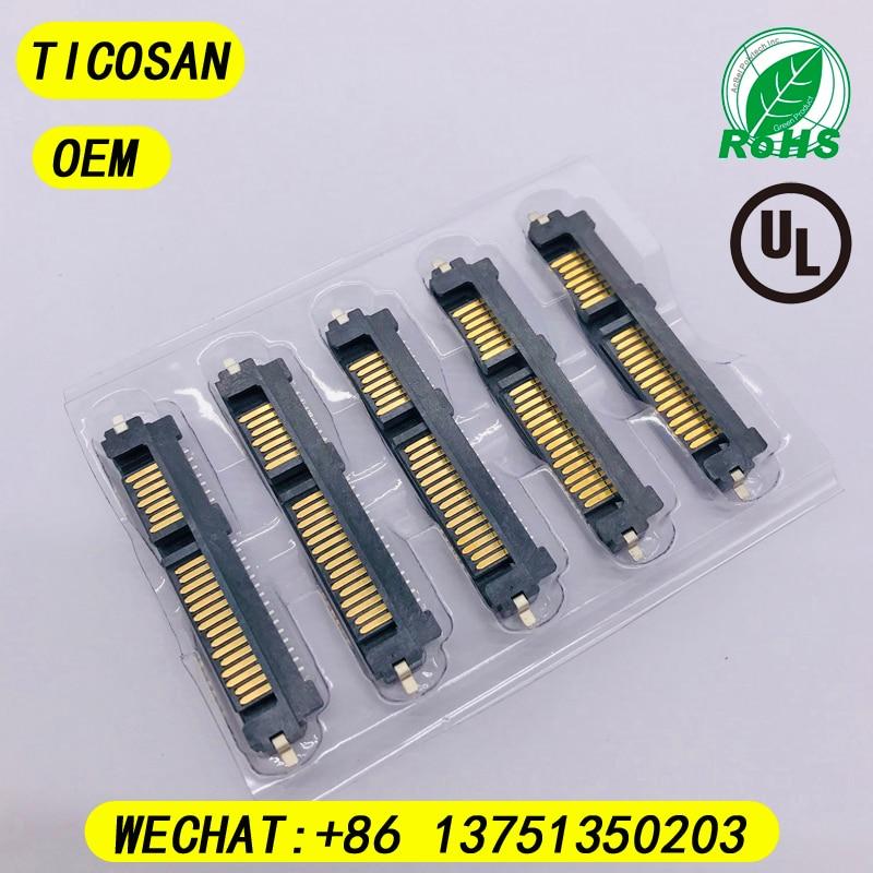 10 Uds. Conector TICOSAN SATA macho 7P + 15P, Conector de 22 Pines, conector H2.2mm de 180 ° para interfaz de disco duro SSD SATA, placa PCB de 22 pines
