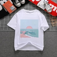 women t shirt great wave and sunrise printed aesthetic tshirts korean style graphic tops new kawaii short sleeve female t shirt