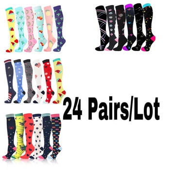 24 Pairs/Lot Compression Stockings Fit For Sports Crossfit Golf Tube Outdoor Sports Men Women Compression Socks Knee Stockings