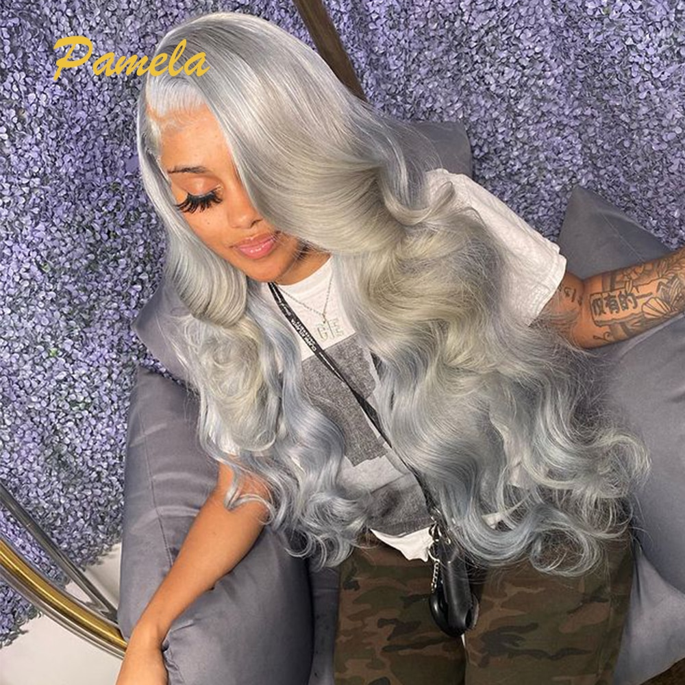 HD Transparent Lace Wig For Black Women Full Ends Lace Front Human Hair Wigs 30 Inch Lace Front Wig Grey Ash Blonde Human Hair